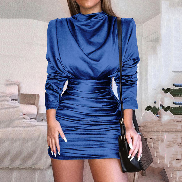 Fall turtleneck long sleeve women dress Vintage high waist bodycon dress Autumn silky ruched party dresses vestidos verano 2018