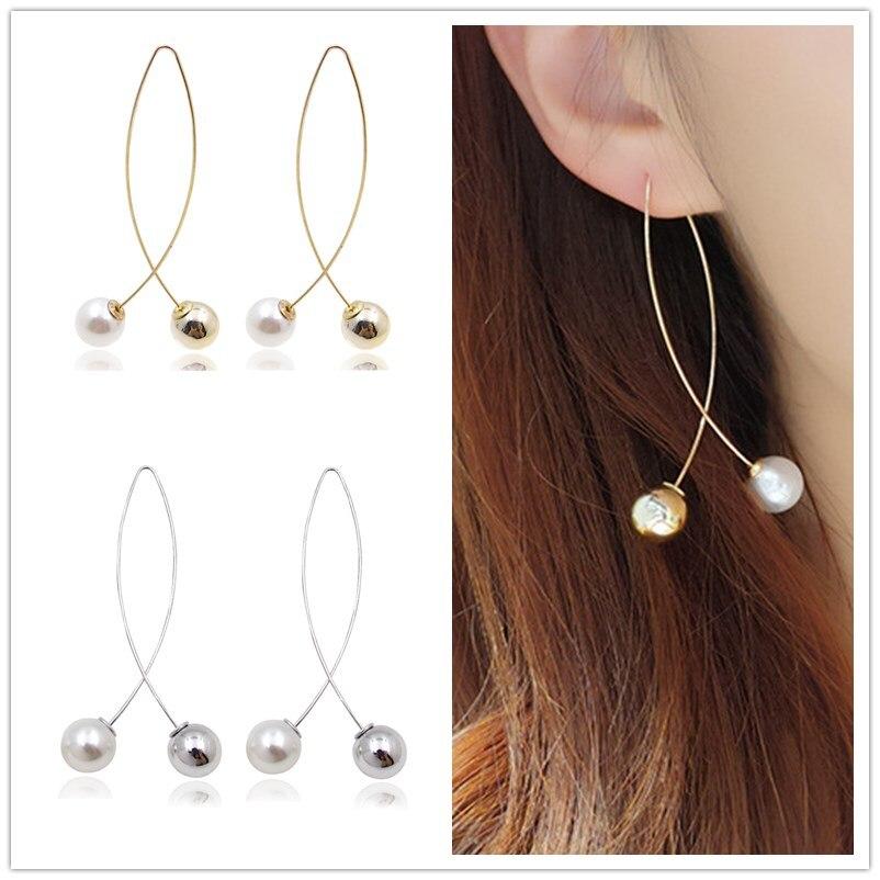 EK234 New Cross Imitation Pearl Earrings Long Simple Fashion Earrings Women Wedding Jewelry Boucles D'oreilles Pour Les Femmes