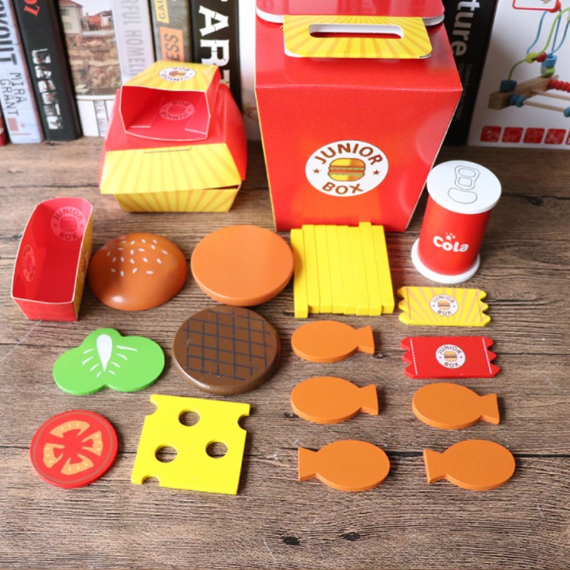 1 Set Wooden Pretend Play Toy Kitchen Set Fries Food Play Toy Simulation Fruit Drink Food Hamburger Chicken Children Toy D97