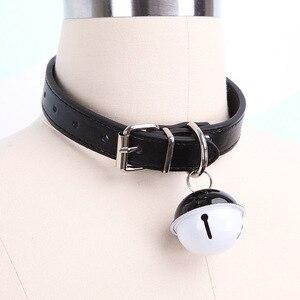 Image 2 - Sexy słodkie Choker smycz łańcuch różowy czarny Harajuku ręcznie Gothic Punk naszyjnik ze skóry z dzwoneczkami Sex zabawki dla pary kołnierz