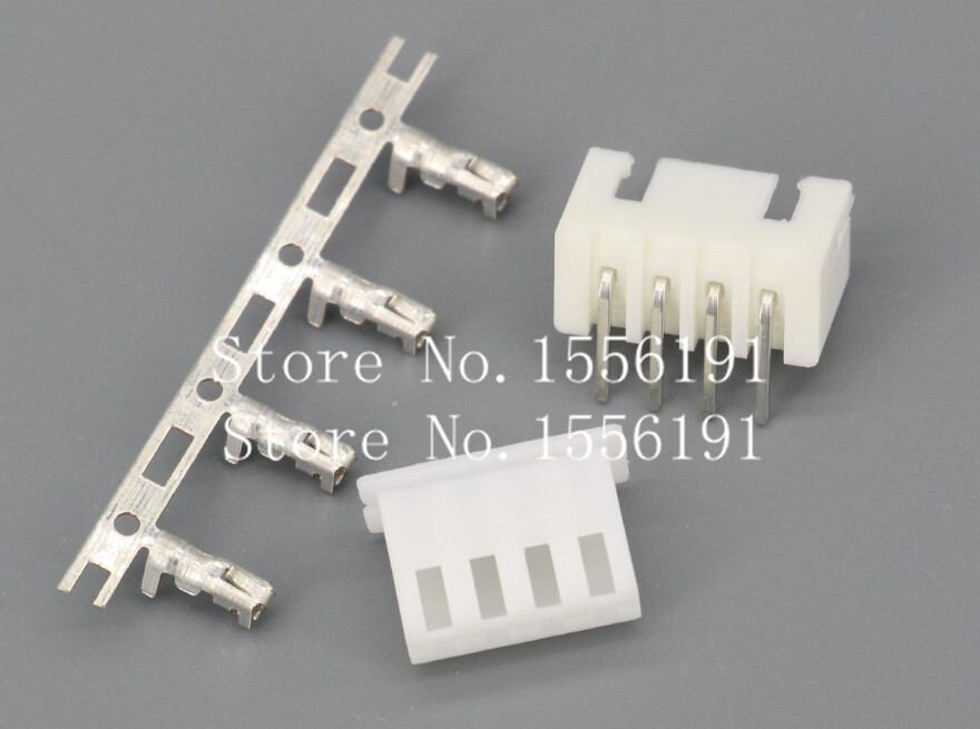 50Sets/Kit XH2.54-4P 4Pin Curved needle spacing 2.54mm connectors Male and Female Plug + terminals