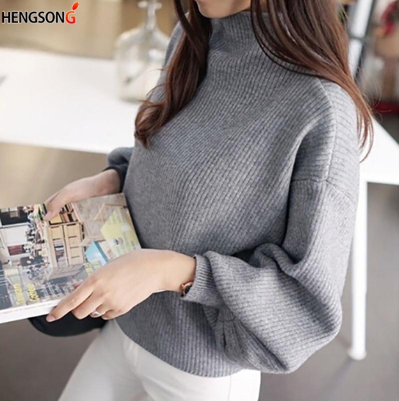 HENGSONG 2018 Autumn Lantern Sleeve Half Turtleneck Lady Female Tops Women shirt Clothes New Fashion Korean New 5 Colors