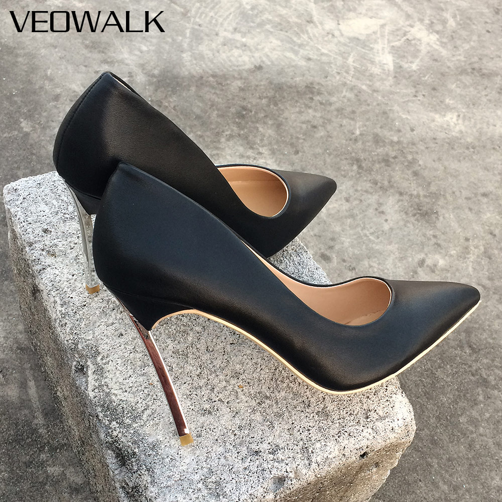 Veowalk Solid Color Women Sexy Pointed Toe Pumps Extreme High Thin Heels Shoes Ladies Fashion Designer Party Wedding Shoes big size 40 41 42 women pumps 11 cm thin heels fashion beautiful pointy toe spell color sexy shoes discount sale free shipping