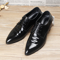 Genuine leather Business Dress shoes Lace-Up Pointed Toe Male Wedding shoes Fashion Casual Men Flats Oxfords 022
