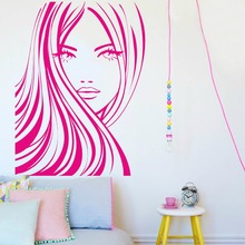 Girls Beauty Salon Wall Decal Beautiful Face Woman Vinyl Stickers Removable Hair Spa Art Mural DIY Home Decor PVCSY41