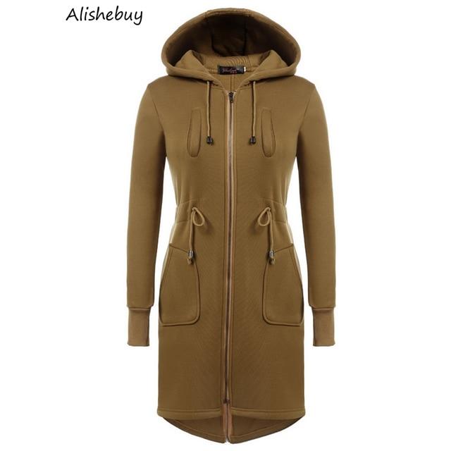 e3ba22a3a70e Durante mucho tiempo, las mujeres Sudadera con capucha Casual abrigos manga  larga invierno Cordón de