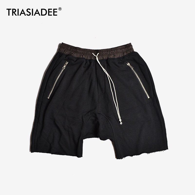 TRIASIADEE Justin Bieber Kanye West Fear Of God Shorts Zipper Pockets Casual Hip Hop Harem Shorts