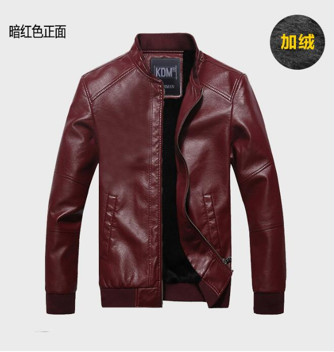 f770a9725f7d Spring New Men s Coat Locomotive Leather Jacket Thickening Fur Outerwear  Slim Winter Leather garments Jacket Brown Black M 4XL.