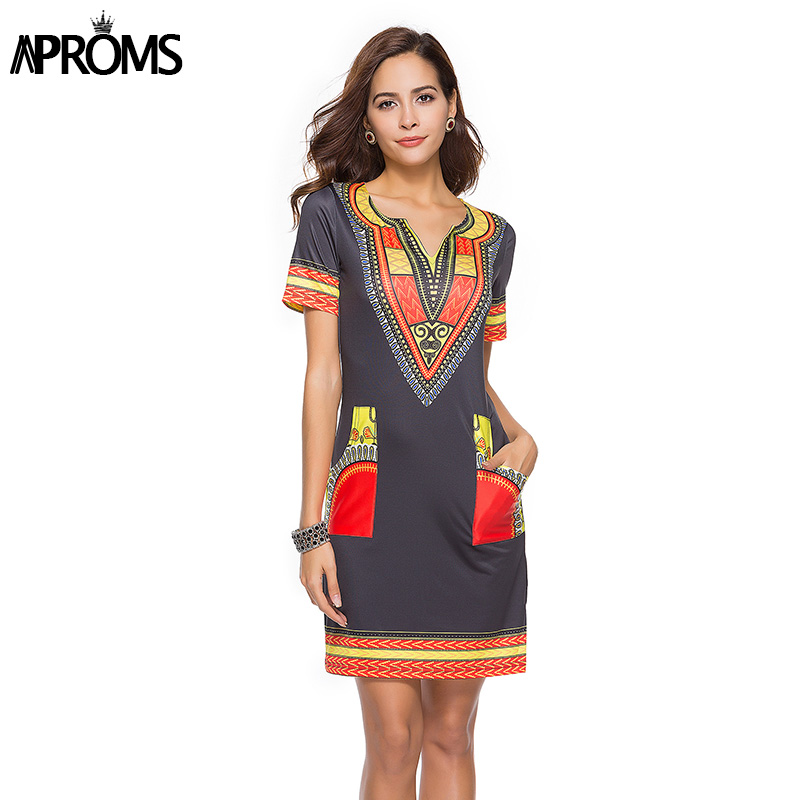 c0f6a842315 Aproms Sexy V Neck Pocket Patchwork Bodycon Tunic Dress Women Summer 2019 Robe  African Print Dashiki Dresses Sundress Vestidos-in Dresses from Women's ...