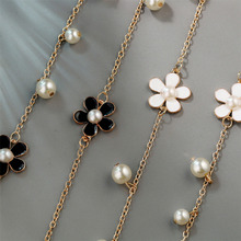 Best Flower Long Necklace for Women Fashion Simulated Pearl Cheap