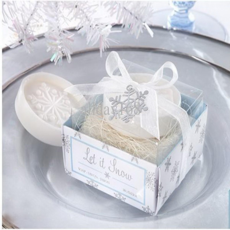 100pcslotwinter Themed Wedding Favors Snowflake Scented Soap Hand