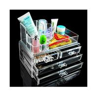 Good Quality 4 Drawers Storage Box Acrylic Transparent Makeup Case Organiser Cosmetic Display EQC371