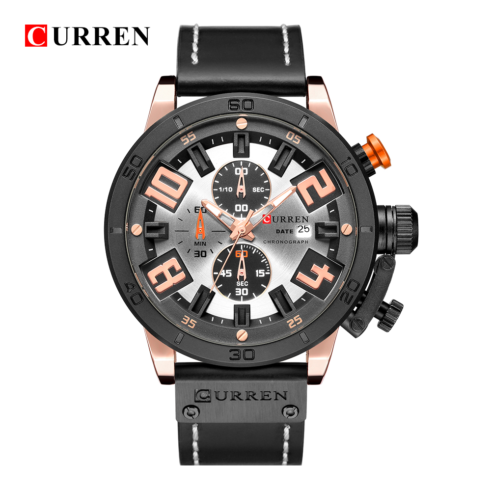 Curren Watches 2018 Men Chronograph Sport Leather Strap Military Quartz Army Fashion Brand Male Clock