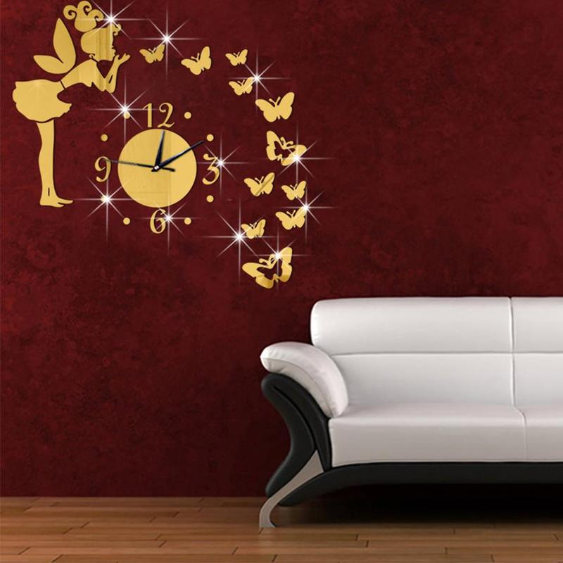 Modern Fashion Silver Golden Creative Fancy Butterfly Mirror Acrylic Wall Clock 3D DIY Wall Stikcer for Home Decoration DHP8412