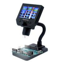 Microscópio digital eletrônico lcd portátil com alto brilho 8 leds ajustável e built in bateria de lítio g600|Microscópios| |  -