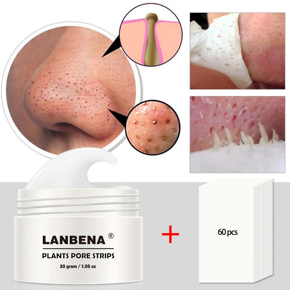 Lanbena removedor de cravo nariz máscara poros tira peeling preto tratamento acne limpeza profunda controle de óleo cuidados com a pele