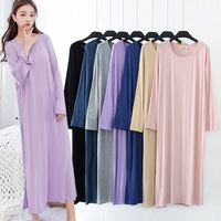 Nightshirts Modal Plus Size Night Dress Women SleepShirts Long Dressing Night Gowns Soft Round Neck Nightie Sleepwear 2018 new