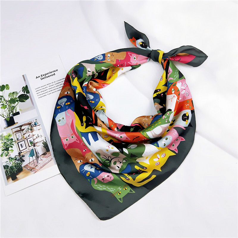 70 70cm New Summer Beach Fashion Square Scarves Accessories Women Funny Cat Cartoon Silk Scarf Bandana Femme Neckerchief in Women 39 s Scarves from Apparel Accessories