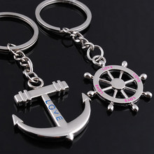 1 pair Gifts Rudder Anchor Key Chain Lovers Gift Fashion Ring Keychain Keyring Couple Key Ring approx.8cm(China)