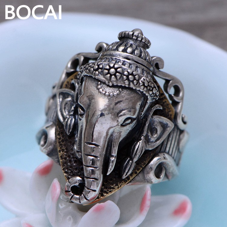 925 sterling silver jewelry retro Thai silver the god of wealth male models delicate ring 056250 the realm of clans anime ling yu qinlie 925 sterling silver ring comics cartoon