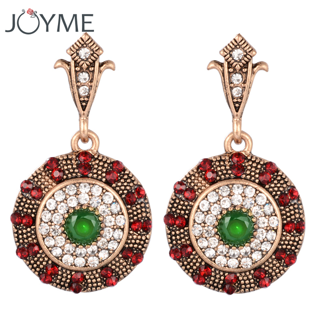 Indian Boho Round Clip Hanging Drop Earrings For Women Fashion Earring White Crystal Gold China
