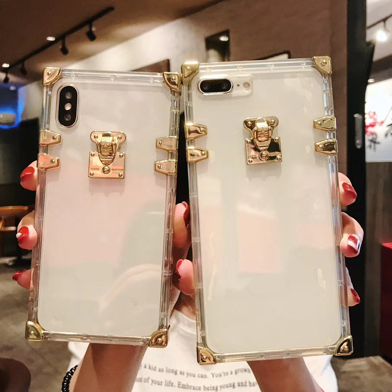 buy popular dd33c 14833 Clear TPU Soft Cases For Iphone 6 6S 7 8 Plus 3D Trunk Square Luxury Bling  Metal Conch Pink For Iphone X XS MAX XR Cover
