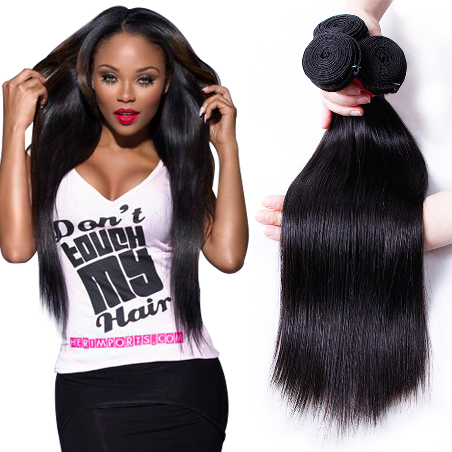 Piaoyi Brazilian Straight Hair Bundles 3 Bundles With Closure Double Weft Remy Hair Weave Extensions Natural Color free shipping