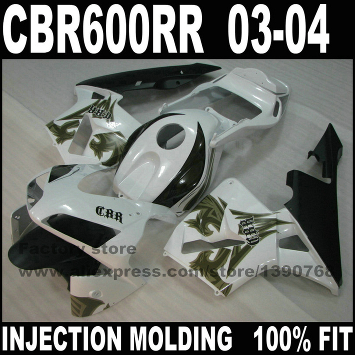 ABS Injection motor body parts for  CBR 600 RR 2003 2004 CBR600RR F5 fairings set  03 04 CBR600 white Phoenix fairing kits injection molded fairing kit for honda cbr600rr 03 04 cbr600 cbr600rr f5 2003 2004 top white black abs fairings set zq23