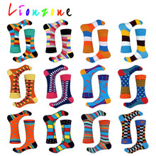 LIONZONE 2018 New Arrived Happy Socks Unisex Men Women Striped Lattice Dot Design Colorful Cotton Leisure Funny Gift