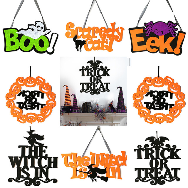 Letter Halloween Hanging Door Decorations and Wall Signs Party Home Decoration Halloween Holiday Accessories