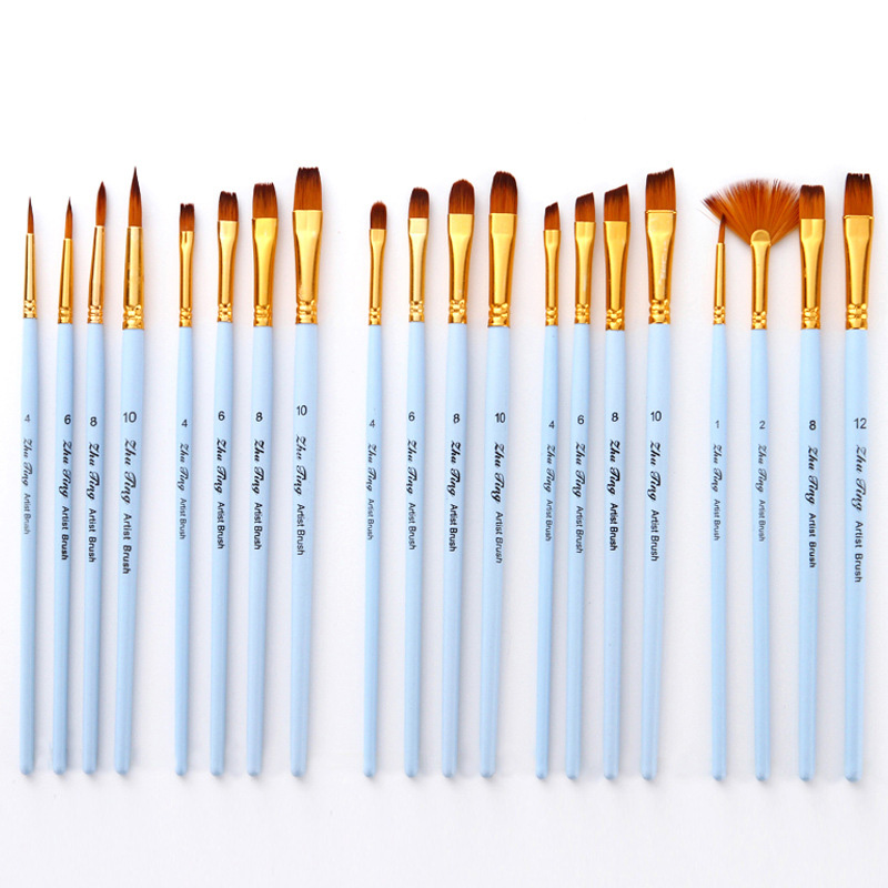 4pcs/set Matt Blue Nylon Oil Paint Brush Pen For Painting Different Size Paint Brushes For Acrylic Painting Student Supplies