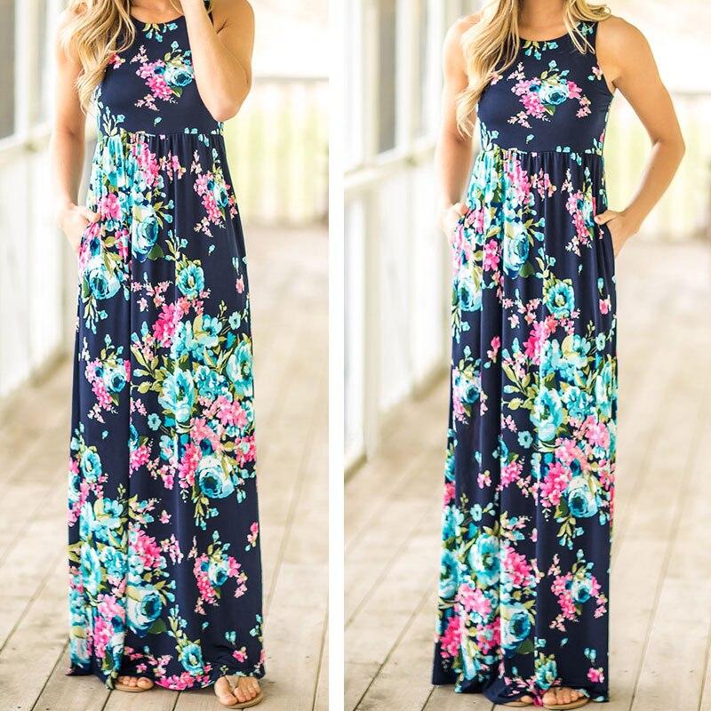 Women's navy floral maxi dress 5