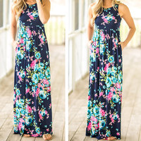 2018 VESSOS Women Max Dresses Fashion Tank Sleeve Floral Pocket Sleeveless Maxi Dress Polyester Floor-Length Navy Blue Casual 5