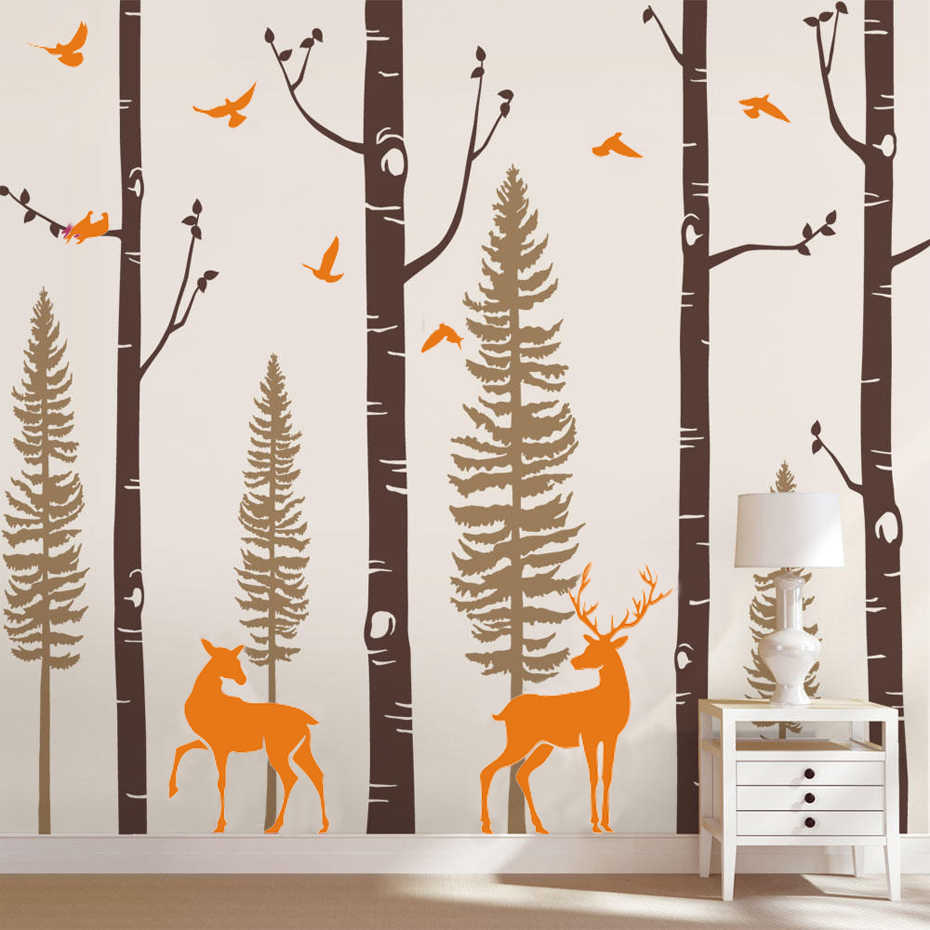 Birch Tree Vinyl Wall Decal with Birds and Deer Wall Sticker Baby Nursery Woodland Forest Art Stickers for Kids' Room Home Decor