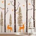 Sticker mural en vinyle bouleau arbre avec oiseaux et cerf Sticker mural bébé pépinière forêt Art autocollants pour chambre d'enfants décor à la maison