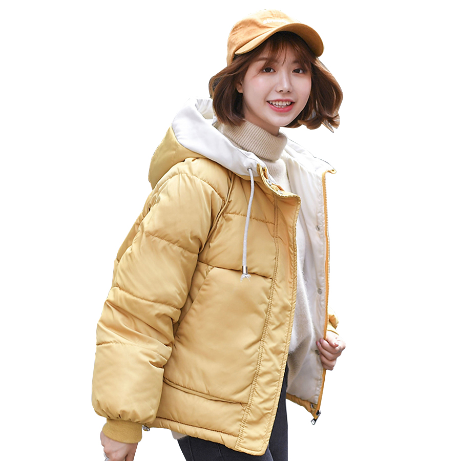 Jacket Women Winter Fashion Warm Thick Solid Short Style Cotton Padded Parkas Coat Hooded Outerwear Parkas Mujer 2019