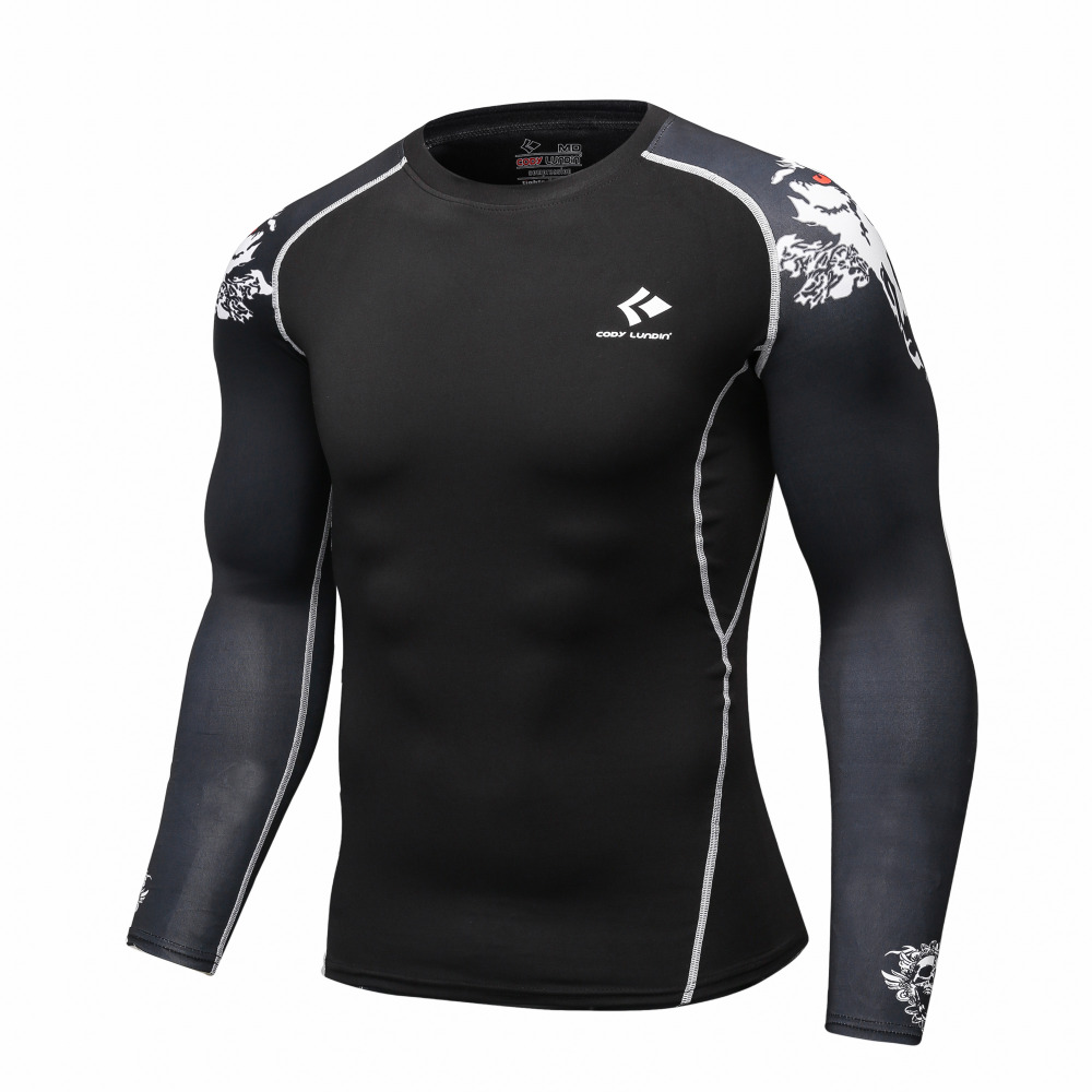 Compresión Bases capa manga larga fitness Camisas piel apretada Guantes de  levantamiento de pesas Tops bodybuilding bd8b4d8c7