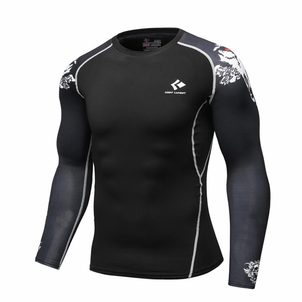Compresión Bases capa manga larga fitness Camisas piel apretada Guantes de  levantamiento de pesas Tops bodybuilding 766e55a548152
