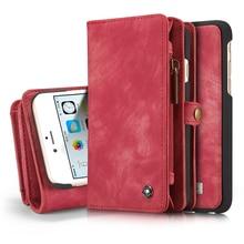 Для iPhone 6 6S телефон сумка Марка caseme молнии бумажник кожаный чехол Обложка Flip Book чехол для iPhone 6 plus 6 S плюс Coque
