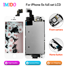 цена на 10PCS Full Set LCD Display For iPhone 5S Home button+Front camera  LCD display Touch screen Digitizer Assembly DHL shipping