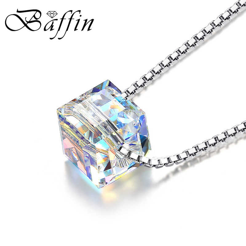 Classic Crystals From Swarovski Cube Beads Necklace Pendants 925 Sterling Silver Chain Necklaces For Women Wedding Chic Gift
