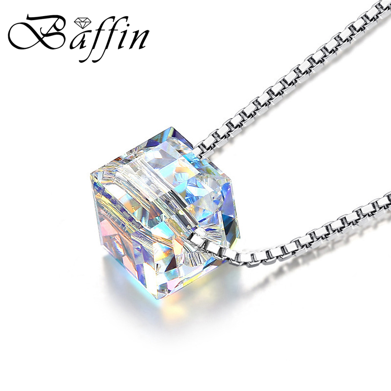 BAFFIN Crystals From SWAROVSKI Cube Beads Necklace Pendants 925 Cadena de plata esterlina collares para mujeres boda elegante regalo