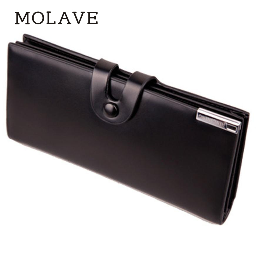 MOLAVE walletswallet male Solid card holder hasp Men Long Section Button Bifold Leather Wallet Card Coin Purse Gift Feb13