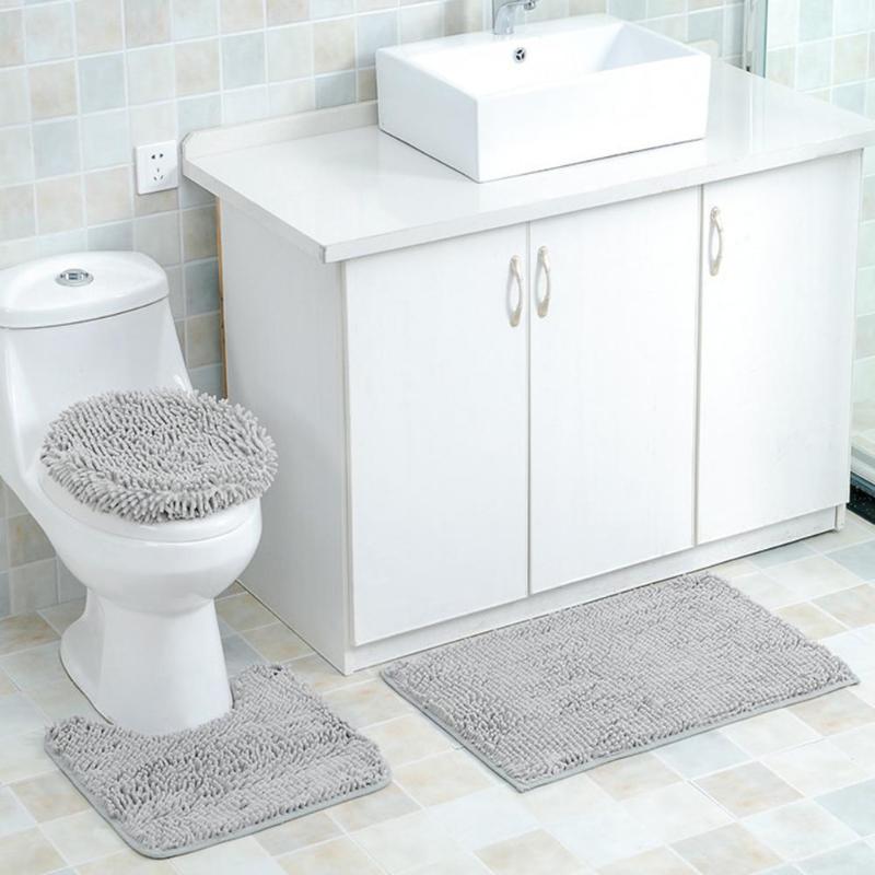 3pcs Rectangle Circle U Shape Chenille Waterproof Carpet Floor Bath Mat Rug Indoor Non Slip