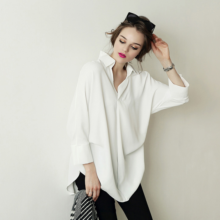 women oversized chiffon blouse long sleeve chemise blanche big size boho long white shirt. Black Bedroom Furniture Sets. Home Design Ideas