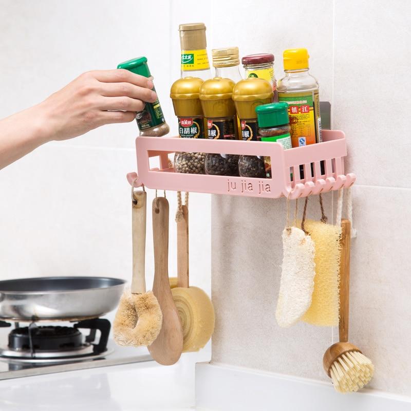 1pc Wall-mounted Kitchen Racks Free Punch Seasoning Storage Rack Plastic Seasoning Shelf