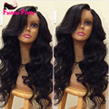 Unprocessed Virgin Mongolian Human Hair Full Lace Wig With Baby Hair 130% Density Natural Wave Glueless Wavy Lace Front Wigs