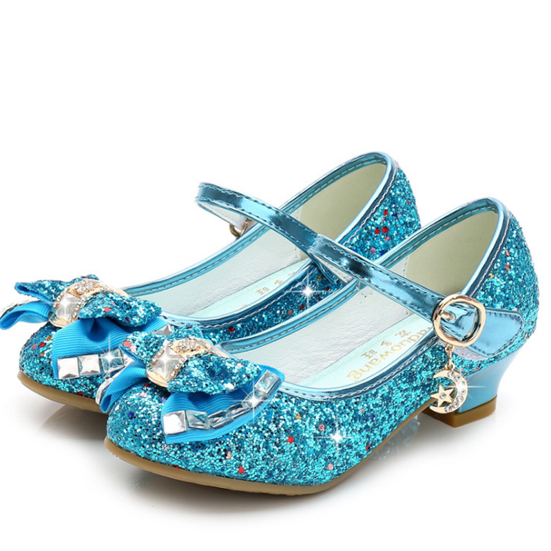 Image 4 - Princess Kids Leather Shoes for Girls Flower Casual Glitter Children High Heel Girls Shoes Butterfly Knot Blue Pink Silver-in Sandals from Mother & Kids