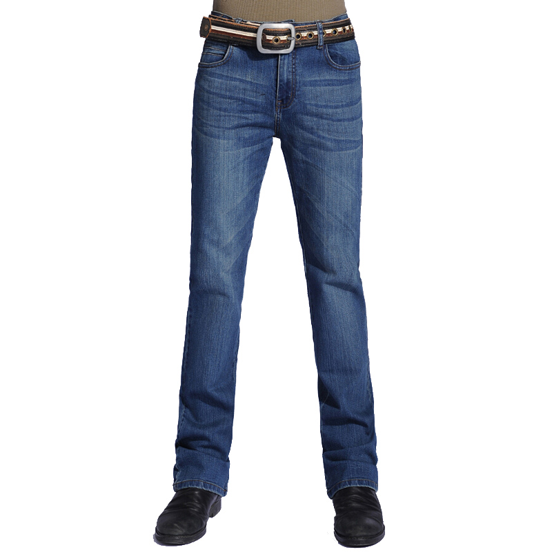 Fashion Mens Bell Bottom Jeans Business Blue Mid Waist Slim Fit Boot Cut Semi-flared Flare Leg Denim Pants Plus Size 28-38  2017 new plus size clothing spring bell bottom jeans female lengthen boot cut mid waist big horn denim trousers