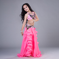 2 colors Girls Belly Dance Costumes Child Ballroom Dance Suit Bra+Skirt 2pcs Children Competition Suit S,M,L For Girls